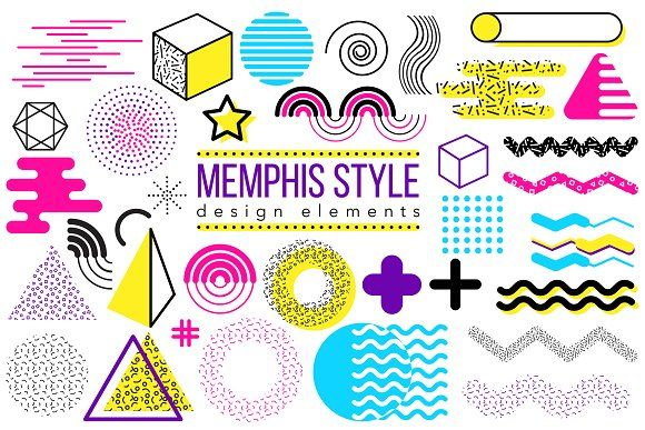 Graphic elements, Memphis style by oxanaart on @creativemarket #memphisdesign