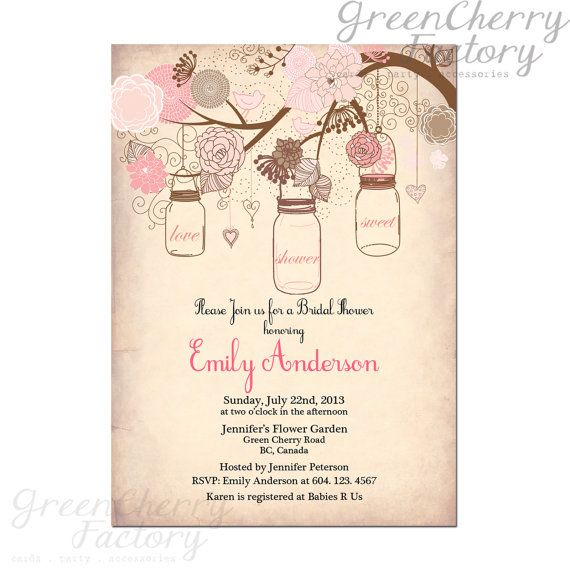 Vintage Peach Background Mason Jar On The Tree Garden Bridal