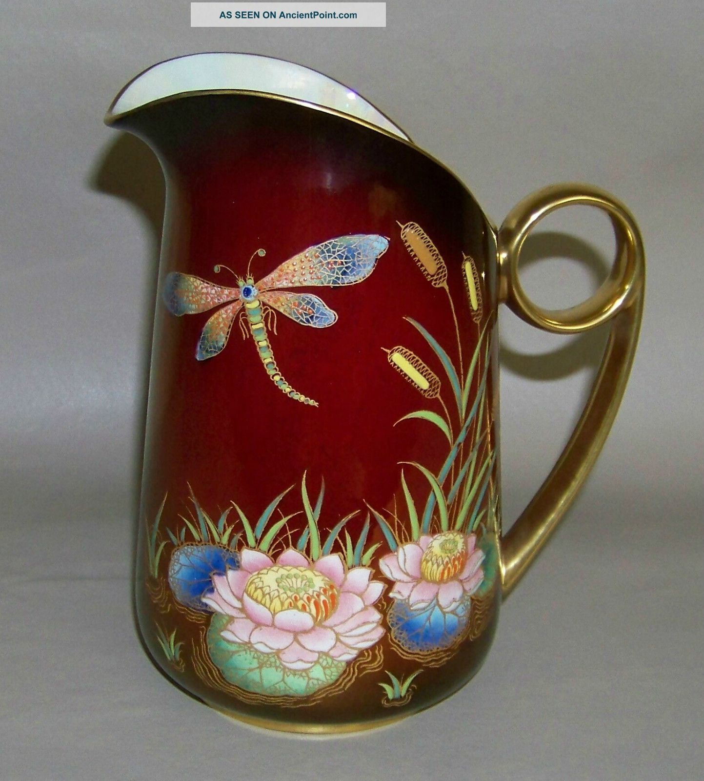 rare c1930s dragonfly lotus pitcher carlton ware rouge royale art porcelain pitchers photo. Black Bedroom Furniture Sets. Home Design Ideas