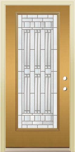 Mastercraft® Memphis X Ready To Finish Woodgrain Fiberglass Full Lite  Prehung Exterior Door   Left Inswing
