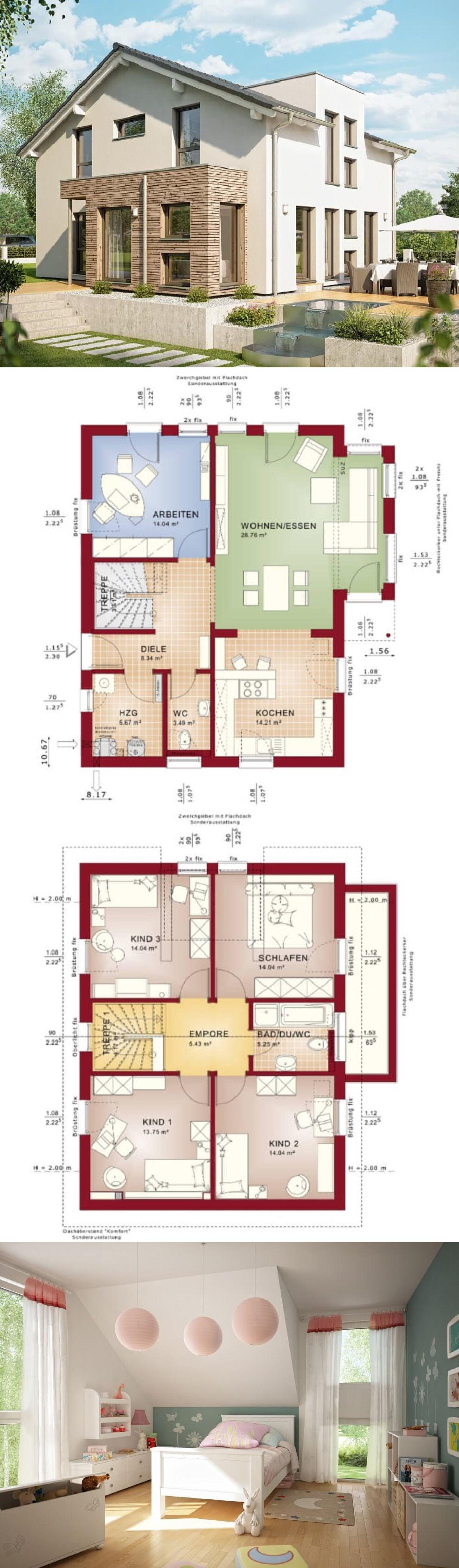 Hauspläne einfamilienhaus neubau  Einfamilienhaus Neubau Architektur modern mit Satteldach ...