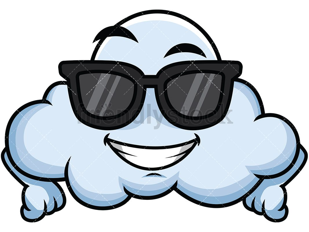 Cool Cloud Wearing Sunglasses Emoji Amony Cloud Illustration