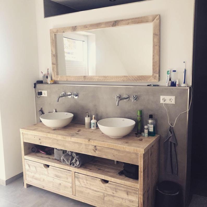 Washbasin Washbasin Washbasin Cabinet Recycled Timber For Top Washbasin Bath Upcycled Solid Wood Handmade Wood In 2020 Recycle Timber Wash Basin Timber Furniture