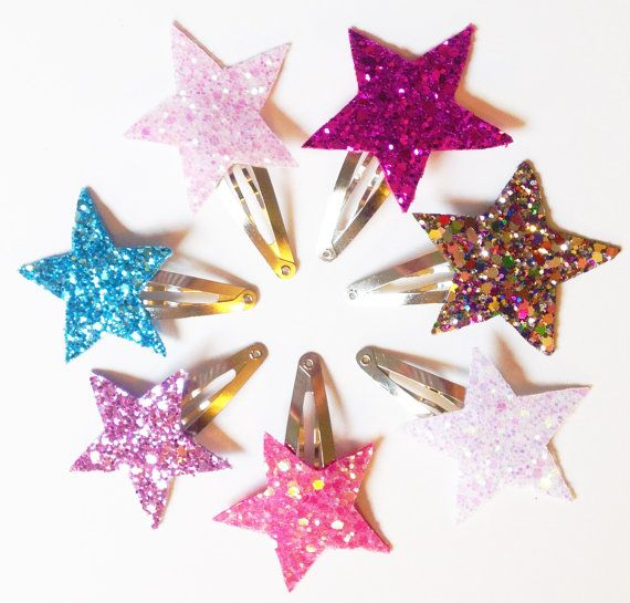 PICK TWO - Glitter Star Clips - Sparkle Star Clips - Sparkle Clips - Baby Hair Clip - Baby Shower Gift - Glitz Confetti Frozen Elsa Blue #babyhairaccessories