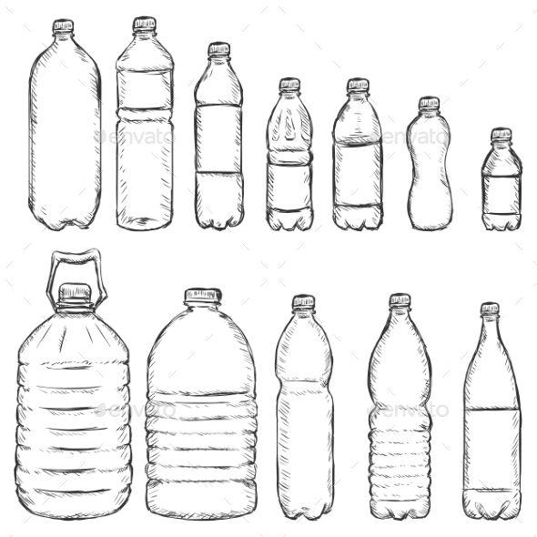 Vector Set Of Sketch Plastic Bottles Bottle Drawing Water Bottle Drawing Plastic Bottle Art