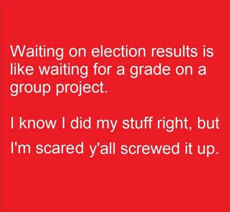 Pin By Kim Land On Professor Memes Election Results Im Scared Group Projects