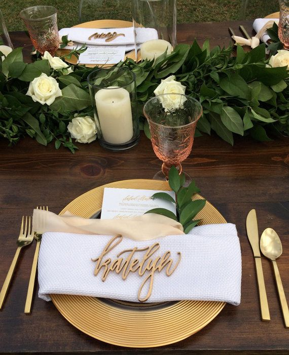 Wedding Table Place Card Ideas: These Laser Cut Names Serve As Both A Divine Place Card