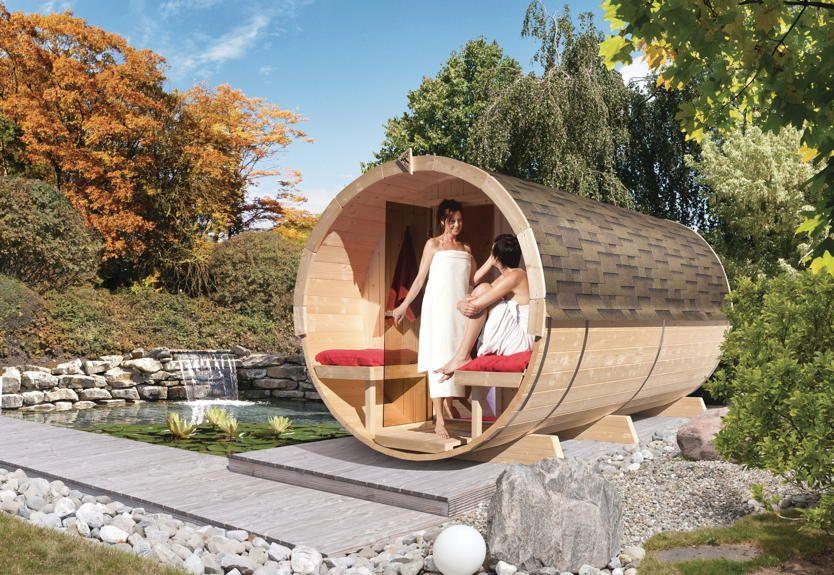 Fass Sauna KARIBU Saunafass 4   Gartensauna, Aussensauna Aus Holz   Einfach  Eine Runde