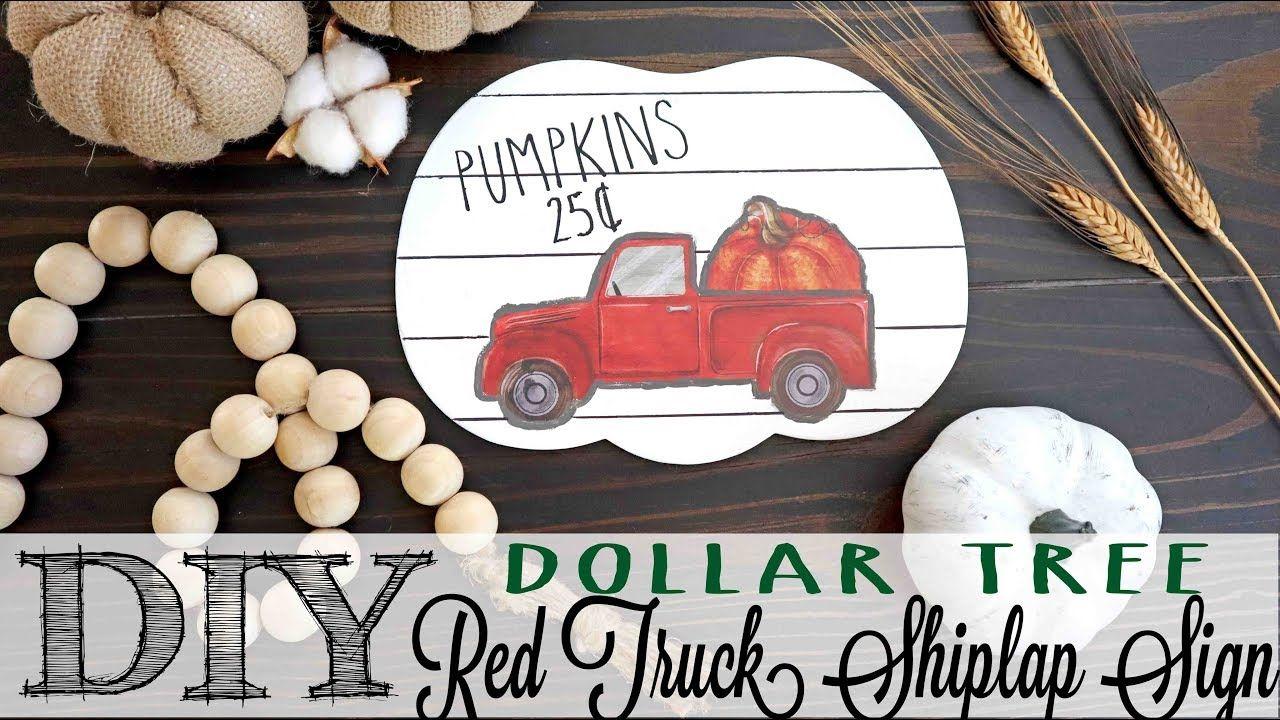 Marvelous Diy Dollar Tree Red Truck Shiplap Sign Youtube Dollar Ncnpc Chair Design For Home Ncnpcorg