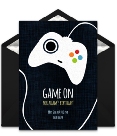 Online Invitations From Video Game Party Boy Birthday And Video