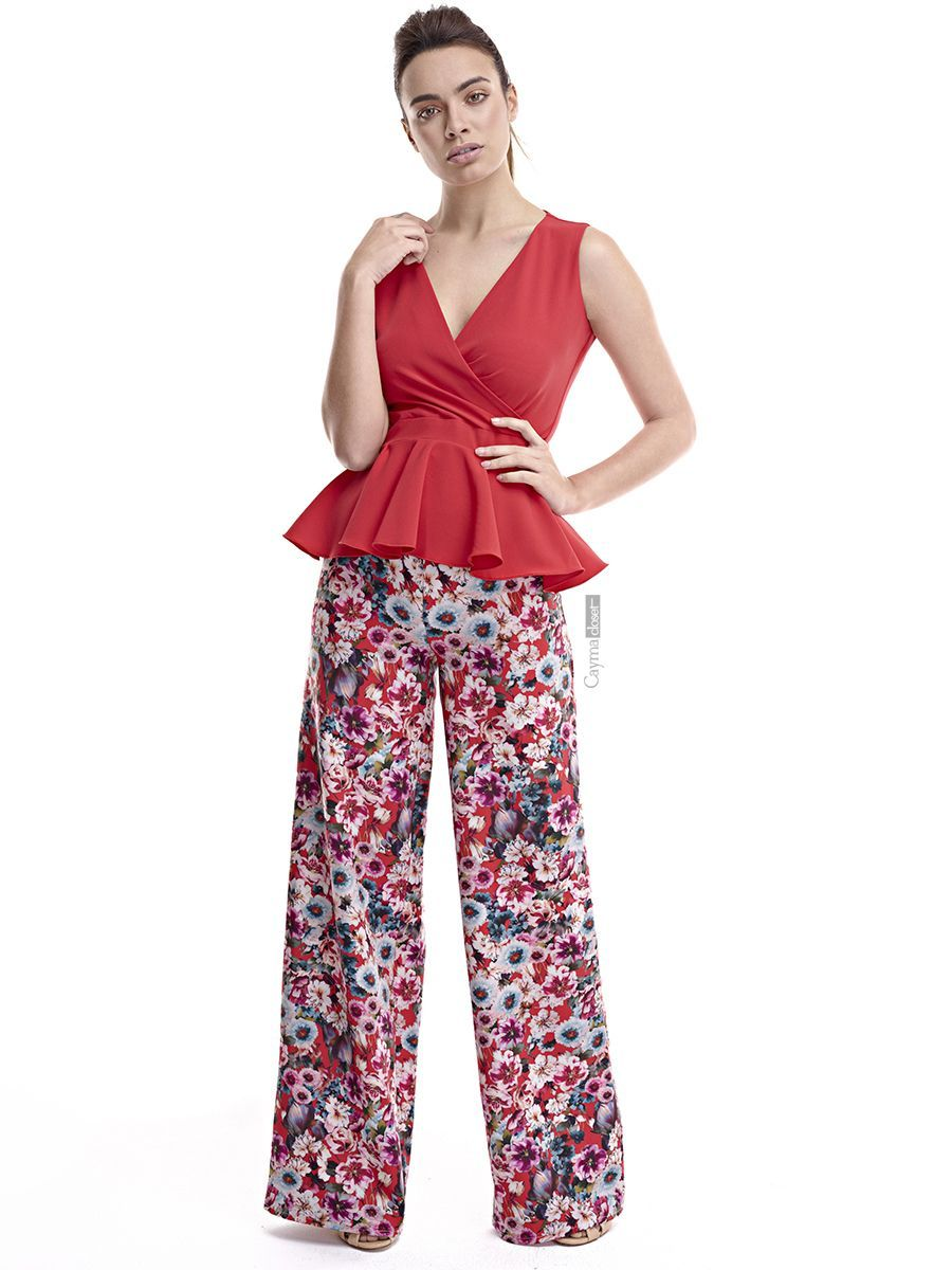 Pantalón ancho tipo pata de elefante con estampado de flores disponible en  varios colores  blanco 18b2b54b5a7