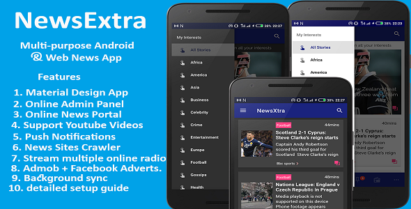 Multipurpose Android and Web News App. Web news, Web
