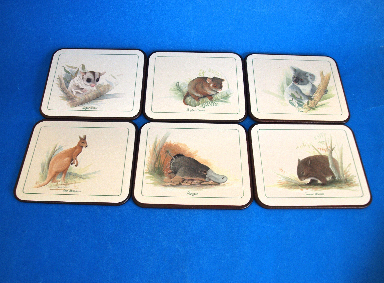 Australian Native Animals Cork Coasters Set Vintage Jason Etsy Australian Native Animals Cork Coasters Animals