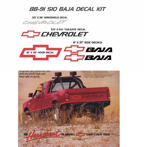 Details about CHEVROLET S-10 S10 BAJA DECALS STICKER DECAL