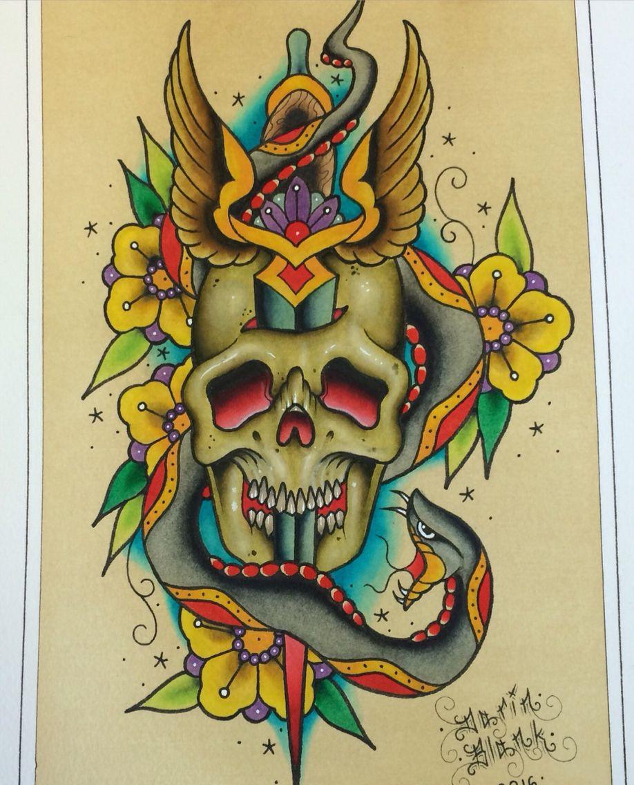 Traditional Flash Skull Tattoos: Traditional Tattoo Flash By Darin Blank. Instagram