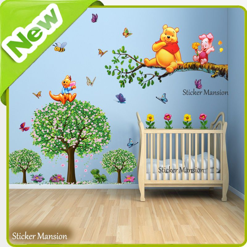 Winnie The Pooh Wall Stickers Animal Butterfly Tree Baby Room