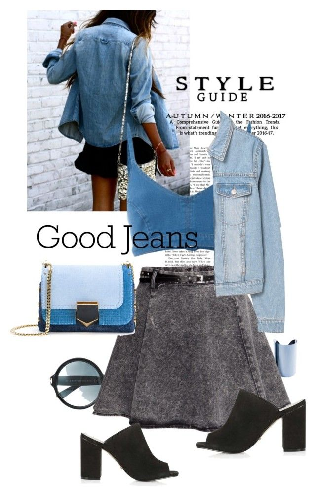 """denim chic"" by black-eclipse-red-sky ❤ liked on Polyvore featuring Maison Margiela, Tom Ford, H&M, Jimmy Choo, J Brand, Topshop, MANGO and alldenim"