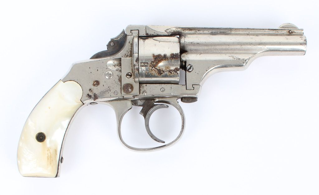 """Lot 119a in the 3.17.15 online & live auction! This vintage Merwin Hulbert Model Pocket Top Break in 32 S&W Double Action Revolver features an unusual take down mechanism, Single/Double Action, 3"""" nickel finish barrel, 5 cartridge cylinder, fixed front blade & groove notch rear sight, unique folding hammer spur, nickel finish cylinder & frame, and original Mother of Pearl grips. #POGAuctions #Gun #Firearm"""