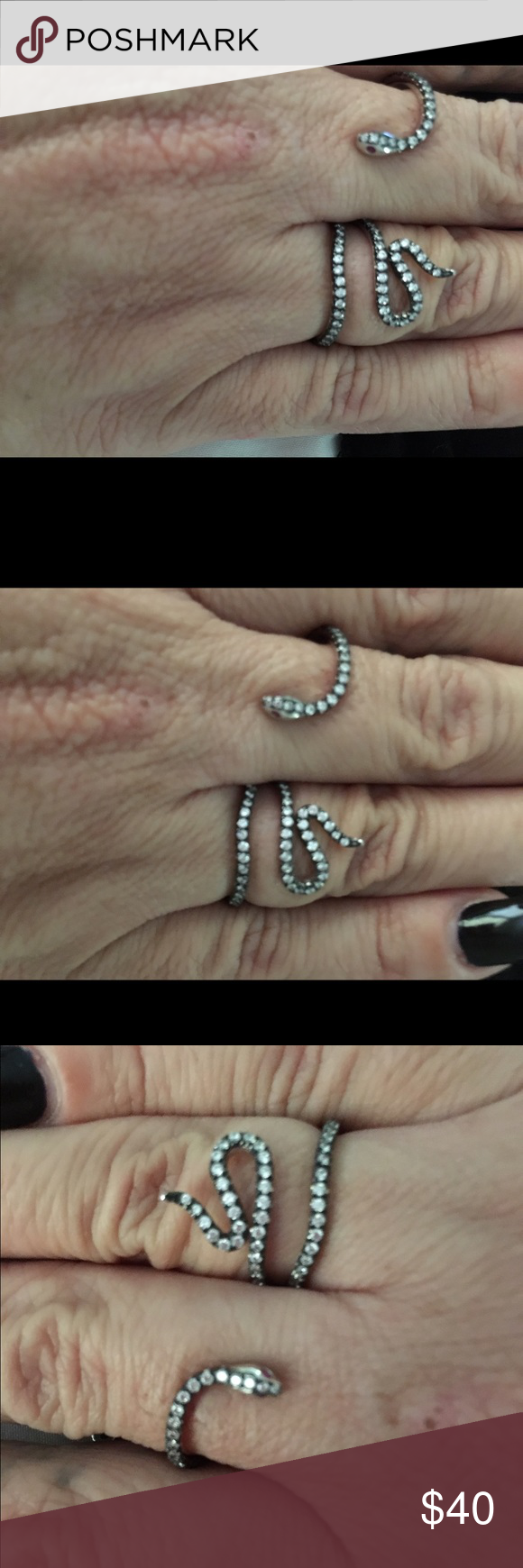 Luxeout double finger snake ring. Used a few time Luxeout brand double finger snake ring. (hard to take pics of it) got a couple from the internet Luxe out Jewelry Rings