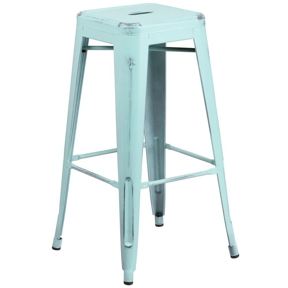 Flash Furniture 30 In Distressed Blue Bar Stool In 2020