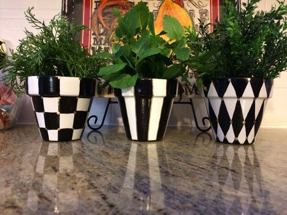 Painted Terra Cotta Pots Set Of 3 By Michelespraguedesign Con