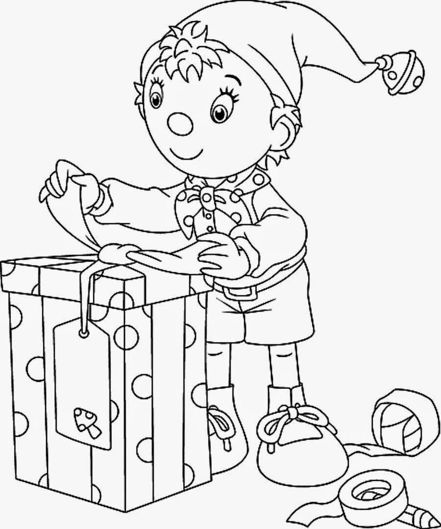 NODDY CHRISTMAS COLOURING PAGE  Christmas present coloring pages