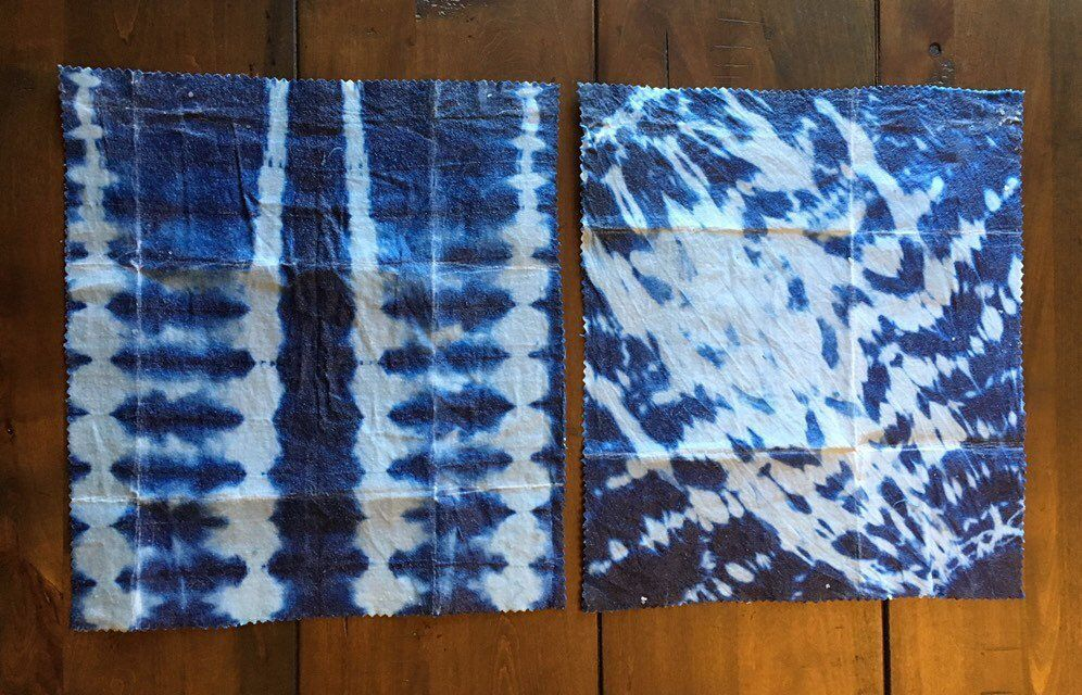 Generously Sized Medium Beeswax Wraps Set Pack of 2 (10.5 x 12)- Indigo Shibori Dyed- Reusable and Eco-Friendly! #BWW2PKMEDISHIB1 #beeswaxwraps This listing is for a set of 2 Generously sized Medium 100% cotton all natural beeswax wraps.  Made in the U.S.A. Product Dimensions: Medium: 10