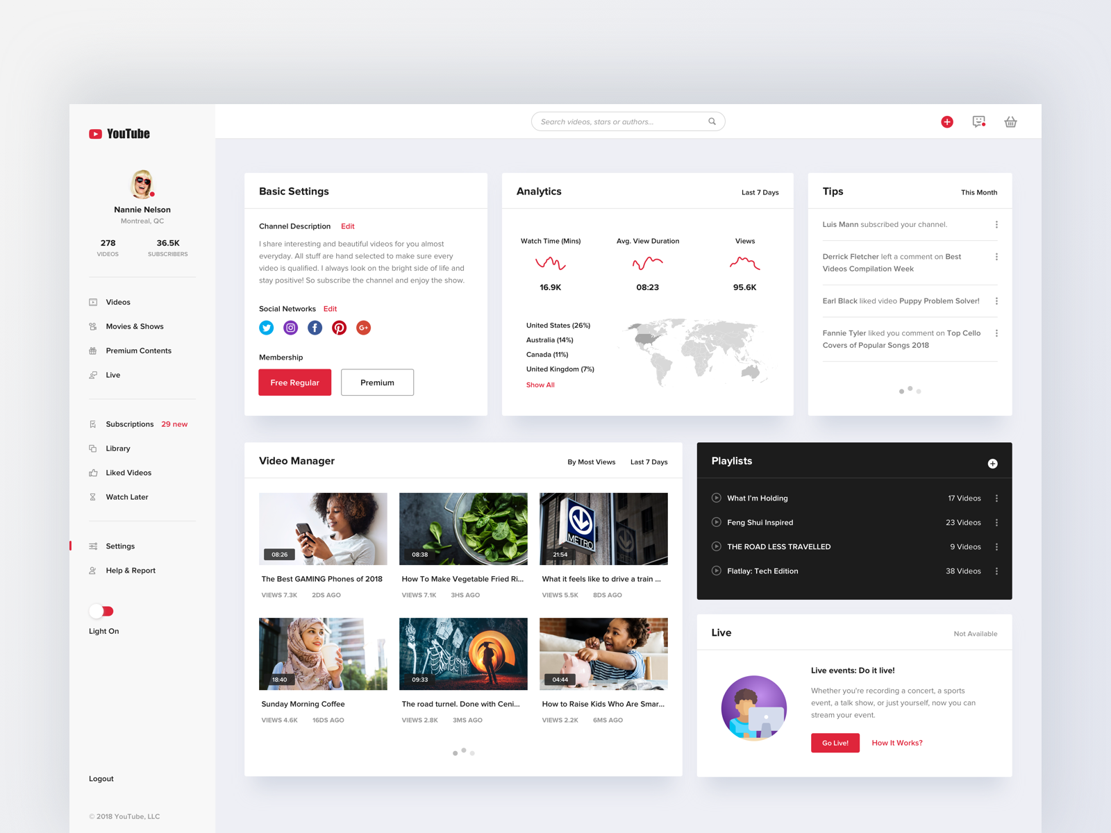 Youtube Concept Design Dashboard With Images Youtube Design