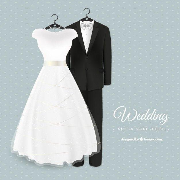 glamuroso traje de boda y vestido de novia vector gratis | wedding