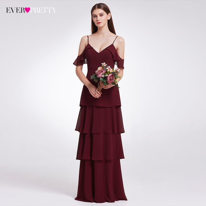 Bridesmaid Dresses V-neck Ruffles Adjustable Spaghetti Straps Cold Shoulder  Tiered Chiffon Party Dresses EP07202 1408ecd31801