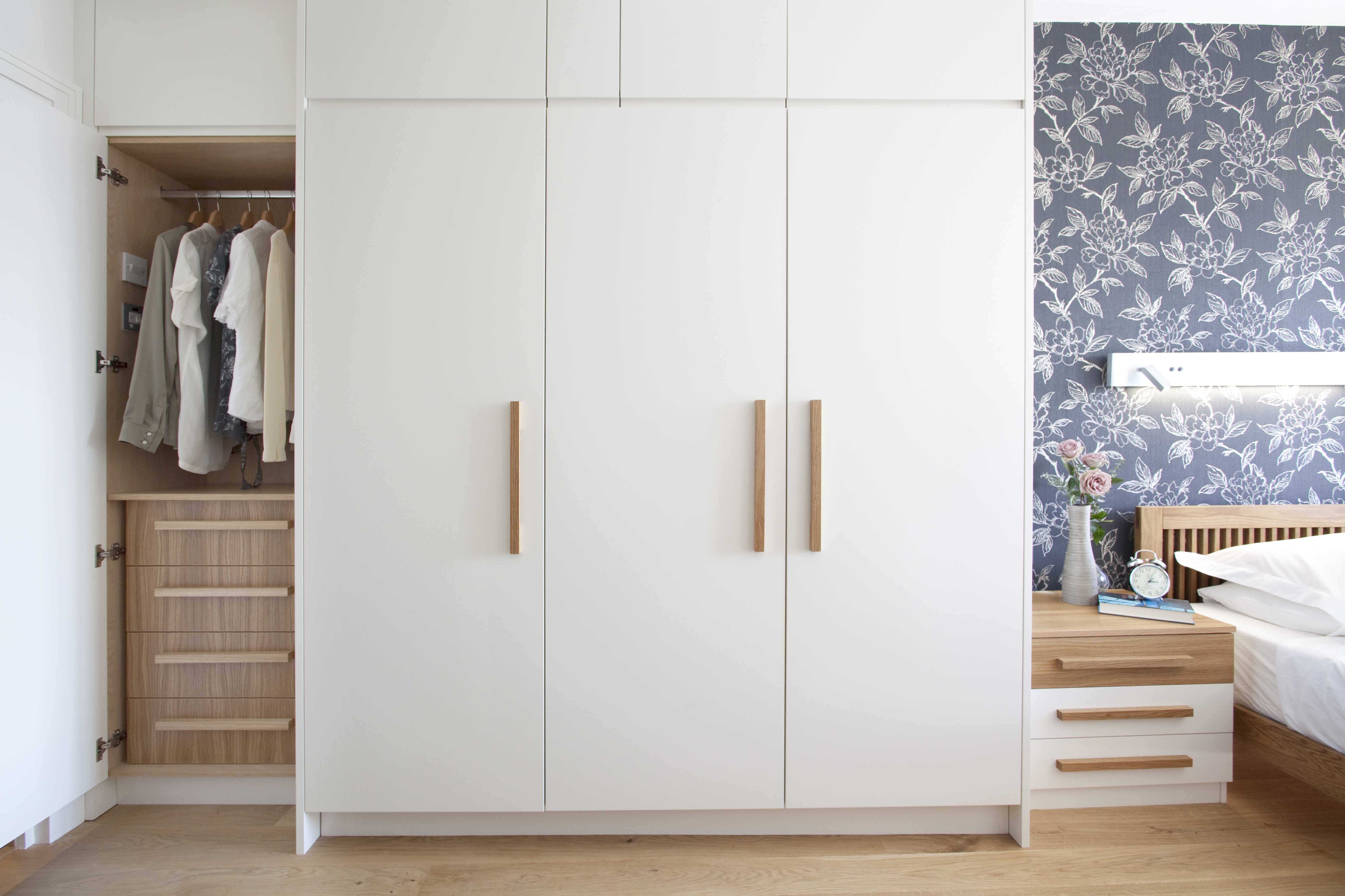 Fitted white wardrobe bespoke cabinetry wooden increation