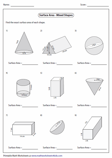 Surface Area Worksheets Area Worksheets Shapes Worksheets 3d Shapes Worksheets