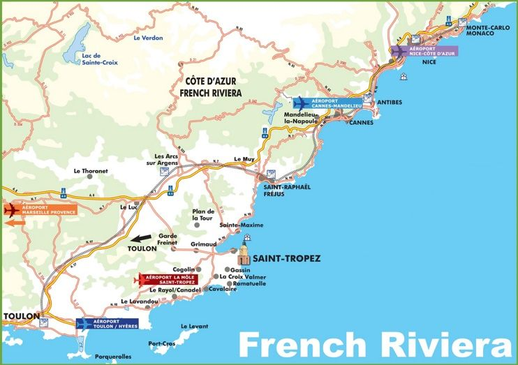 Map Of French Riviera With Cities And Towns Maps Pinterest - Louisiana map of cities and towns