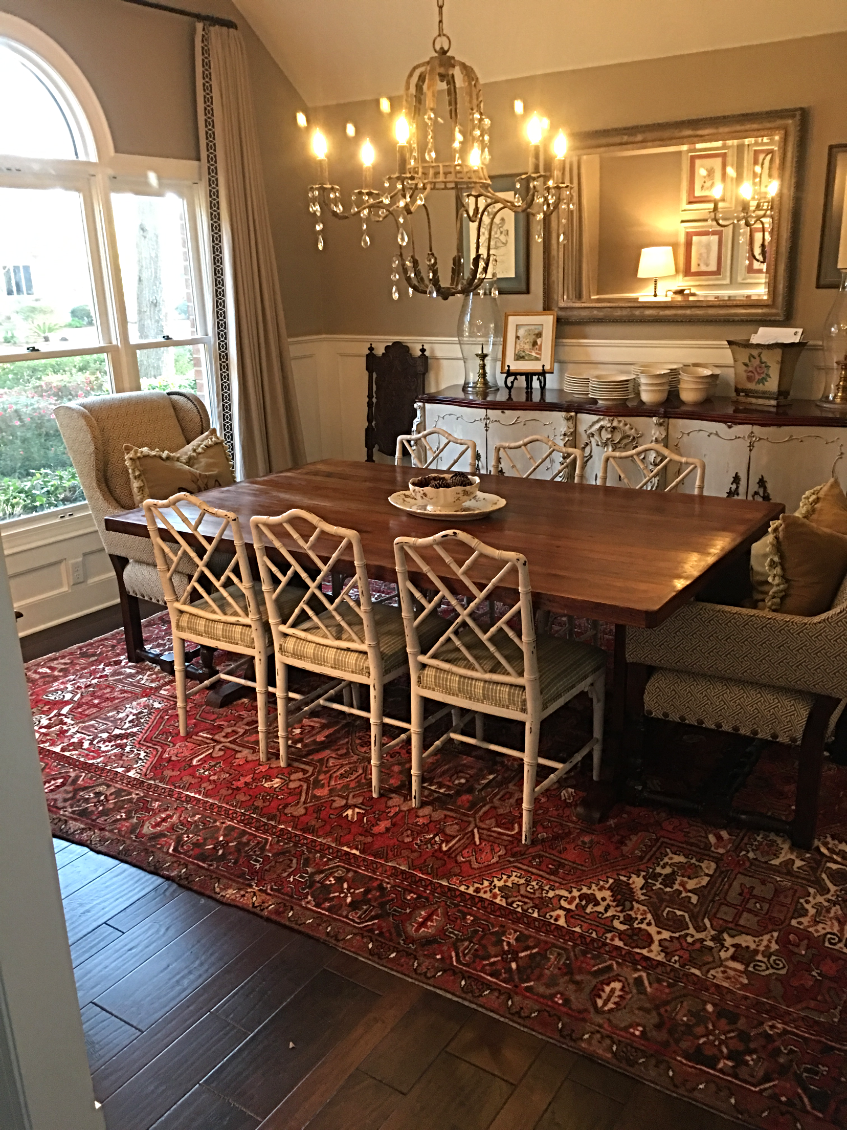 Dining Room Chippendale Chairs BM White Dove SW Tony Taupe Farm Table