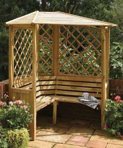 Corner Arbor Bench I Like The Angled Corner But Would Prefer Open Backs Above The Benches And