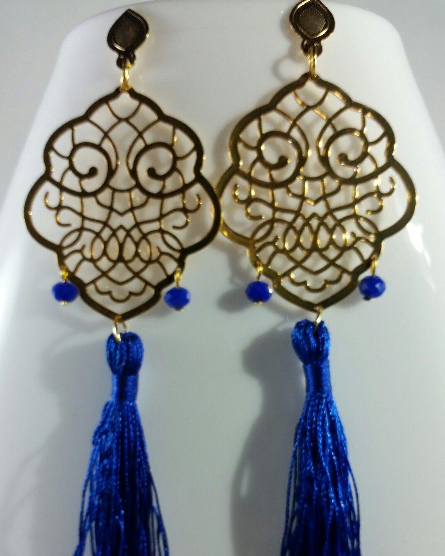 c79955f44611 Aretes dorados oro golfi borlas azul rey dijes de cristal de murano color  azul rey