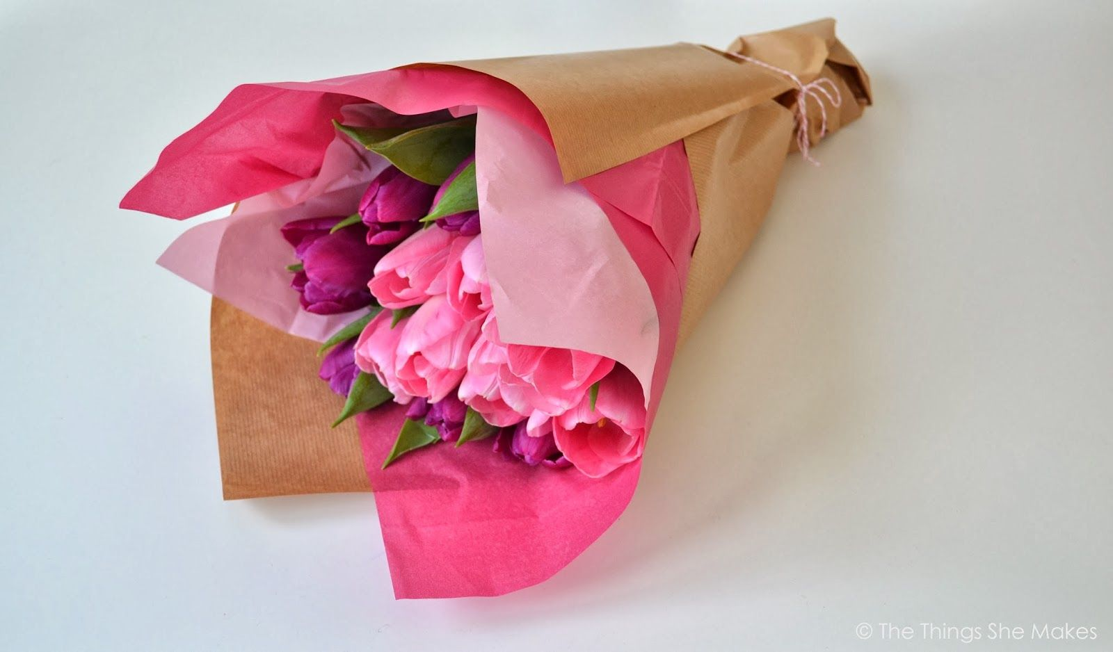 The Things She Makes How To Wrap A Flower Bouquet Gift Wrap Ideas