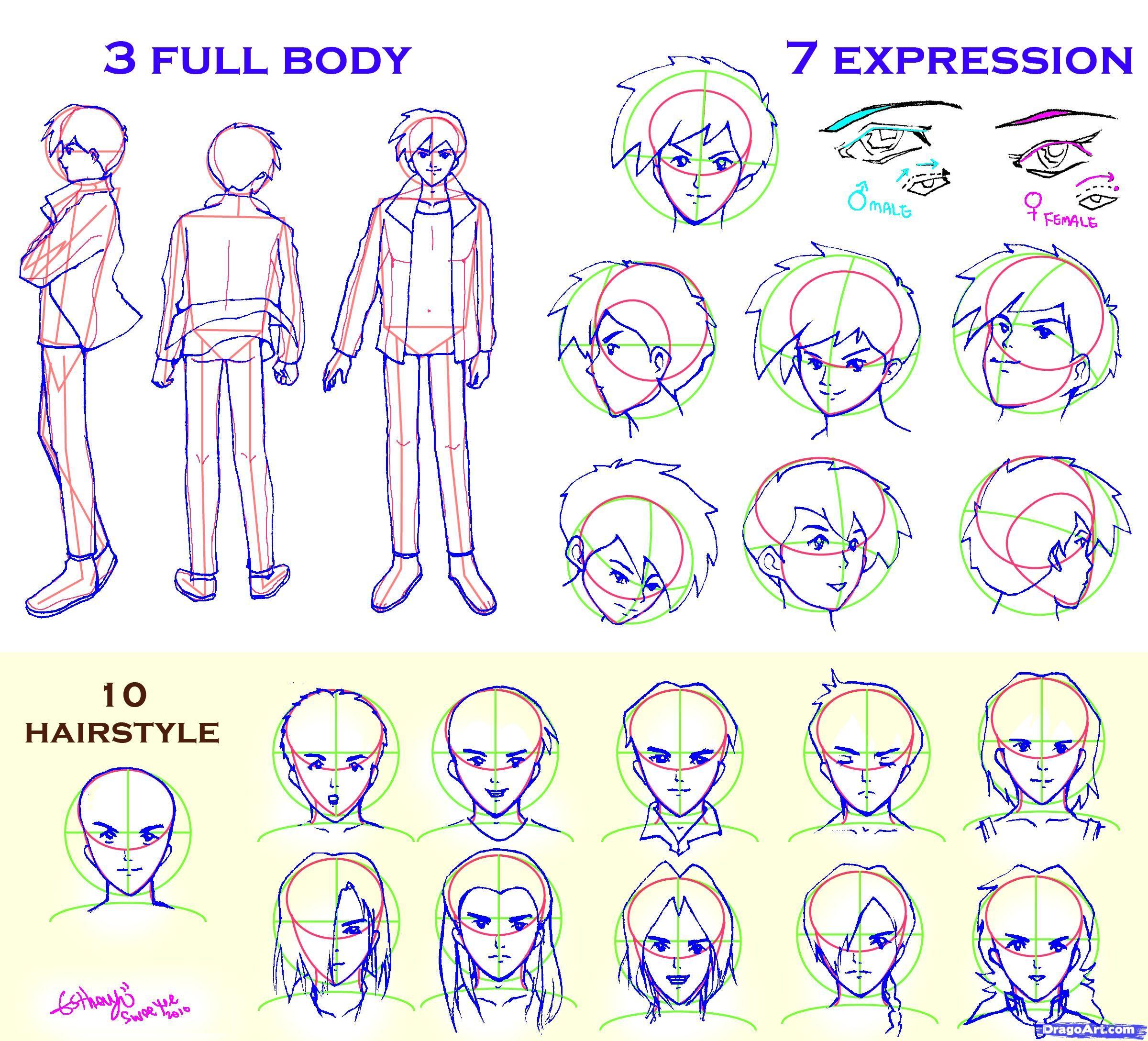 Male manga guidelines Drawings, Anime guys