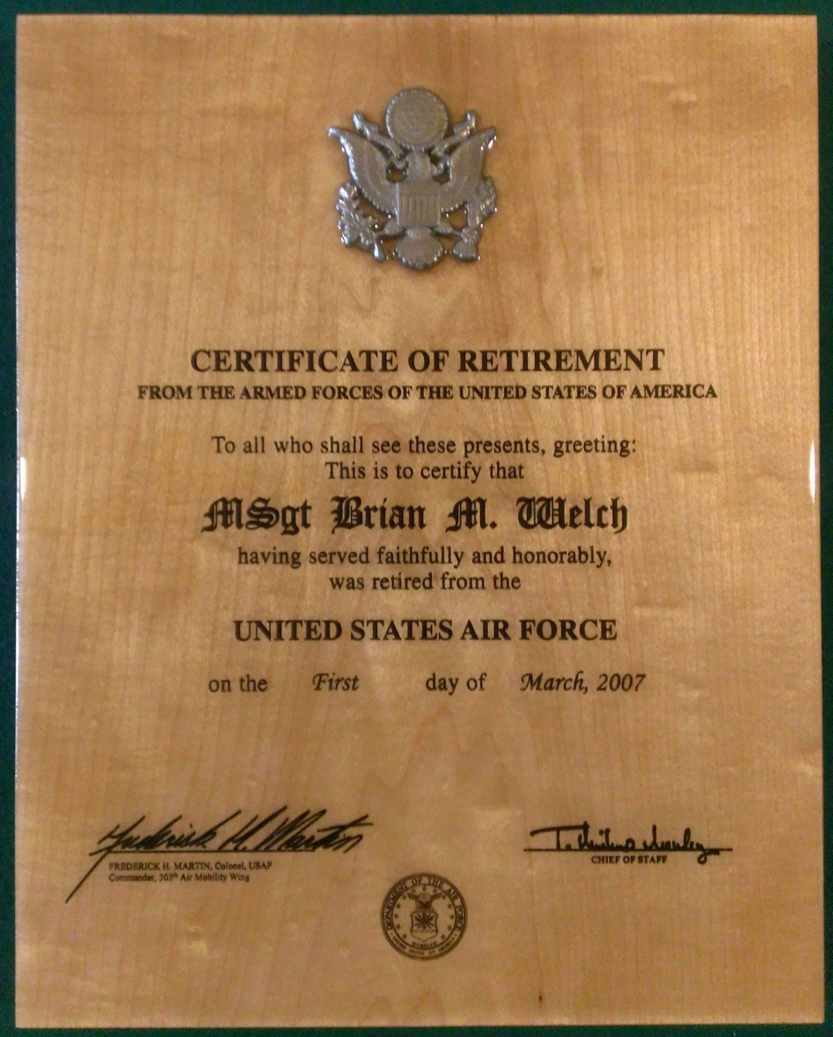 "Going Away Quotes For Military Plaques: Military Certificate Of Retirement These 11"" X 14"