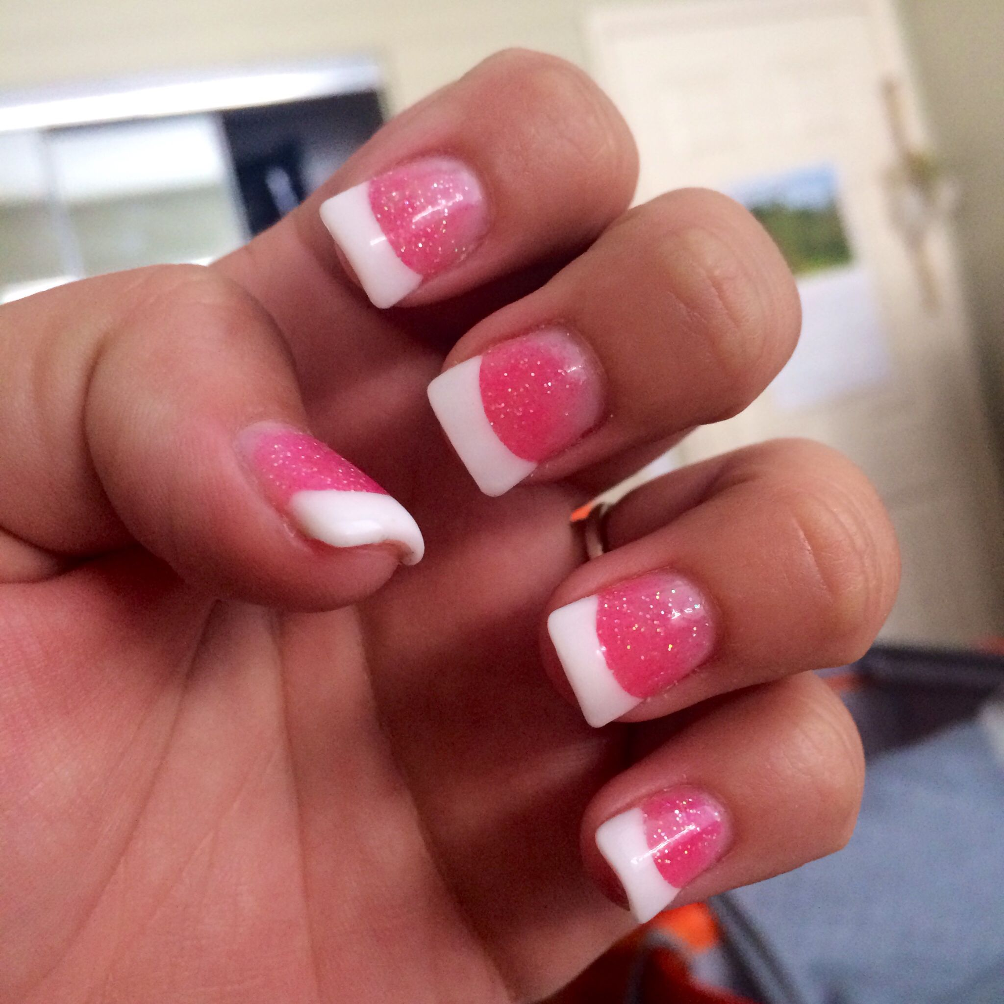 White tip and pink sparkle powder french acrylics! | Nails ...