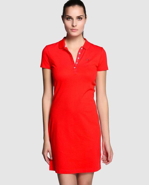 fb8b3a5926626 Vestido de mujer Tommy Hilfiger en rojo con cuello tipo polo ...