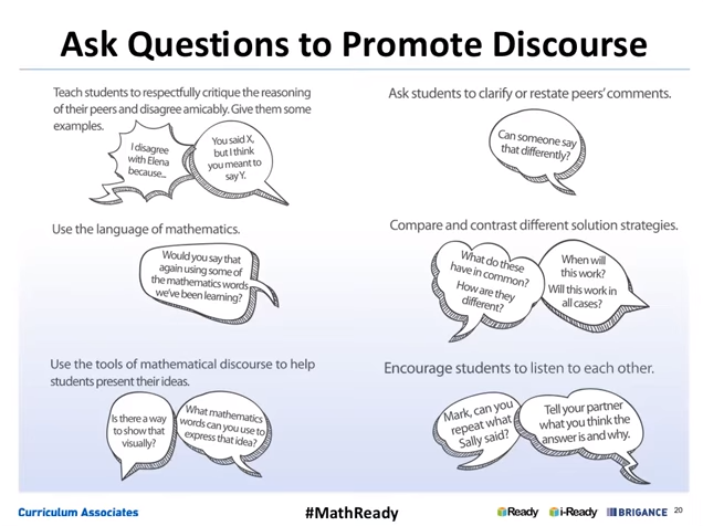 """Teacher moves for math talk...from webinar on """"Orchestrating Mathematical Discourse to Enhance Student Learning"""""""