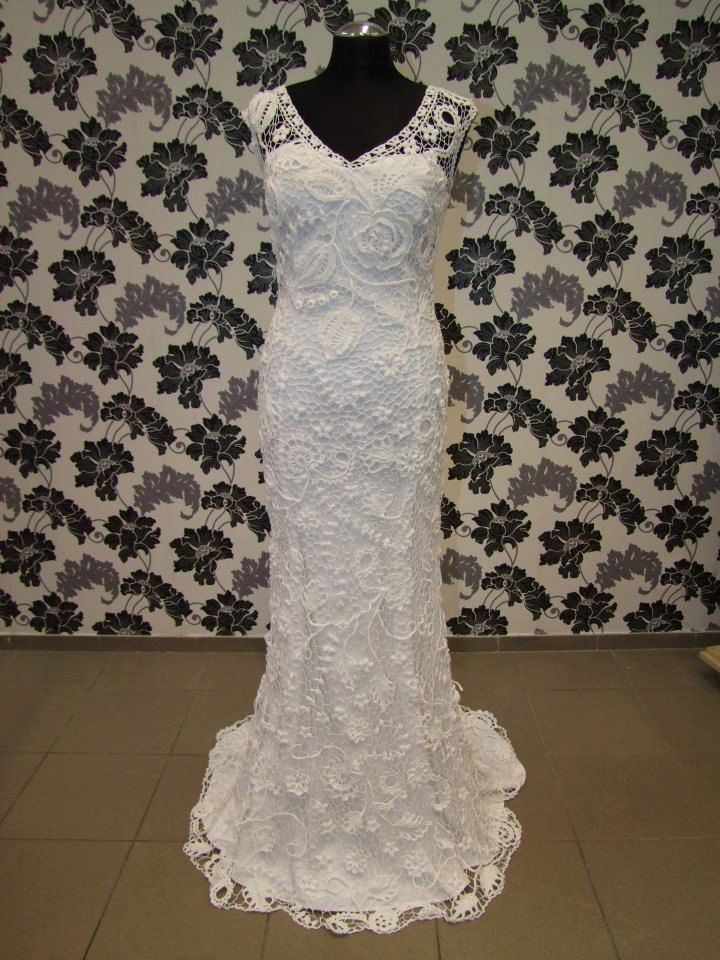 """Irish crochet wedding dress """"Mystery"""". 1,800.00, via Etsy"""