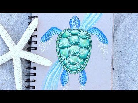 Fun And Simple Sea Turtle Drawing Tutorial Turtle Drawing Sea Turtle Drawing Turtle Watercolor