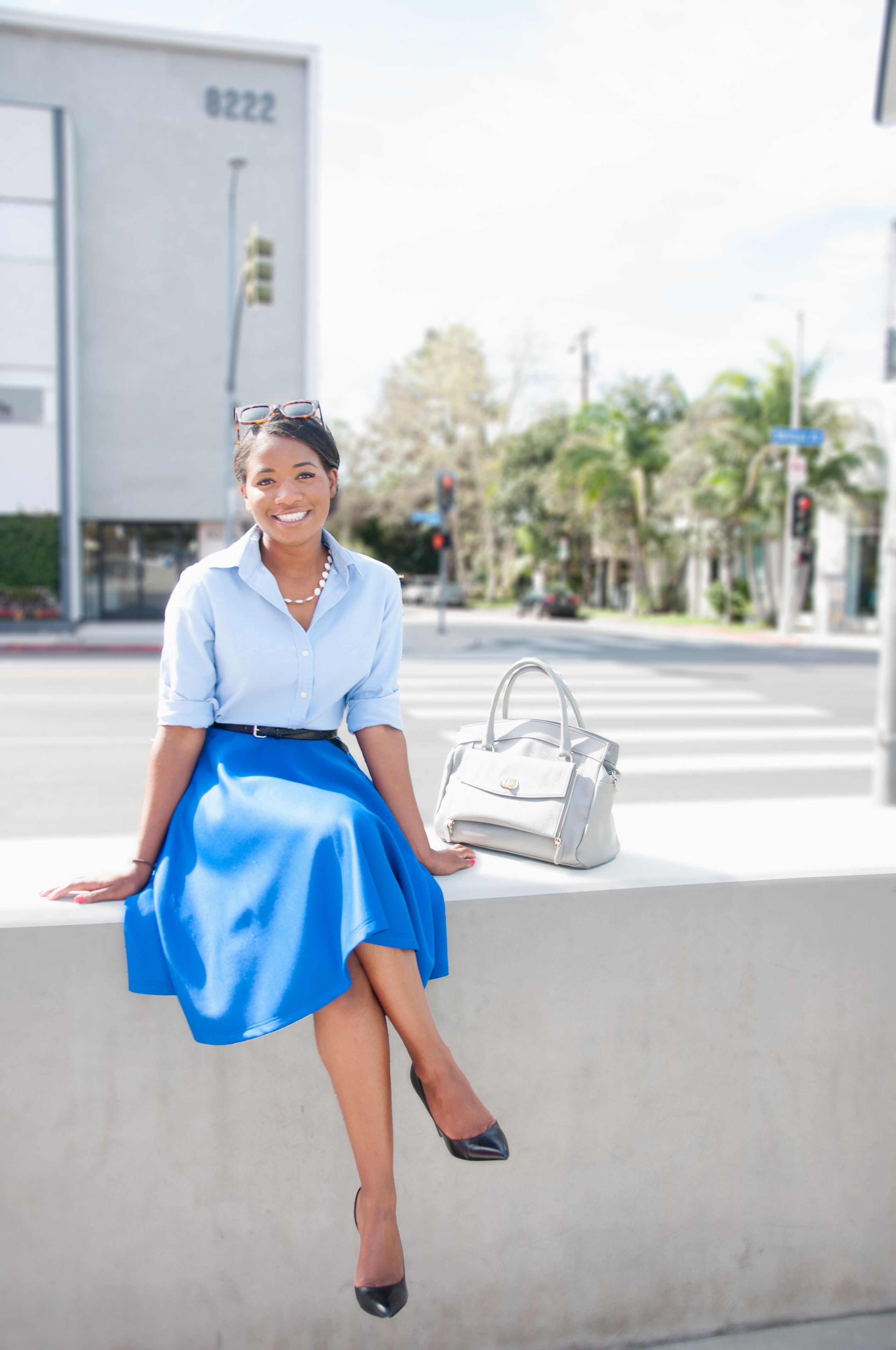 7da4a2ede13f5e Love the color combo, the bright blue skirt with a great length and style,  and the shirt is easy for nursing