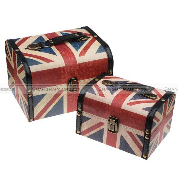 Women Fashion Vintage UK Flag Storage Cosmatic Box Bag Case Suitcase Set WBG1006 - ShanghaiMagicBox.com