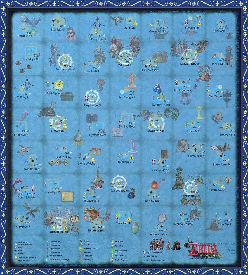 The Wind Waker Full Sea Chart w/ Pictures!!! by zantaff on ... Zelda Wind Waker Hd Map on the wind waker hd map, wind waker sea map, zelda wind waker map tower, zelda wind waker hd review,