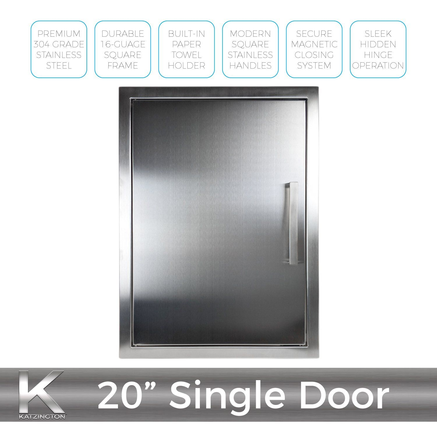 Katzington Bbq Access Door Modern Style 17 X 24 304 Grade Stainless Steel Double Walled Construction Barbecue Island Outdoor Storage Propane Tank Storage