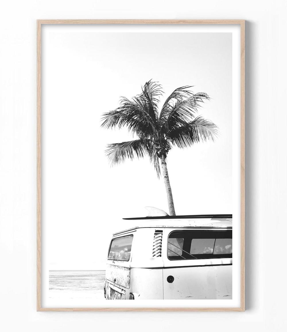 Surf Art Vintage Beach Print Combi Van Wall Art Beach Art Kombi Photography Surf Poster Print Summer Tropical Art Decor Surf Art Surf Art Print Beach Wall Art