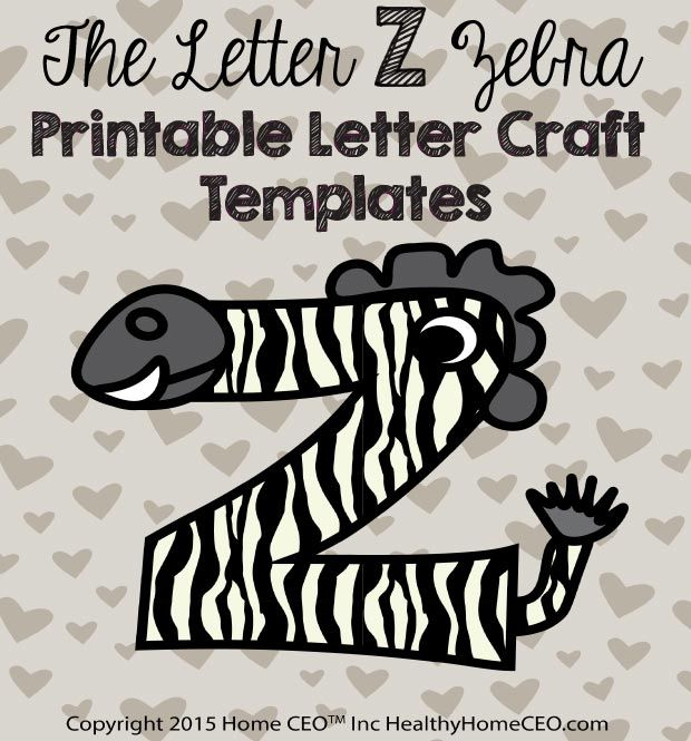 The Letter Z Zebra Printable Letter Craft Template By Home CEO. In Color  And Black And White. ...